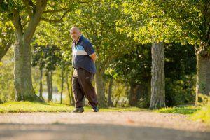 Man walking on a path among trees