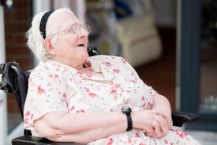 Woman relaxing in wheechair