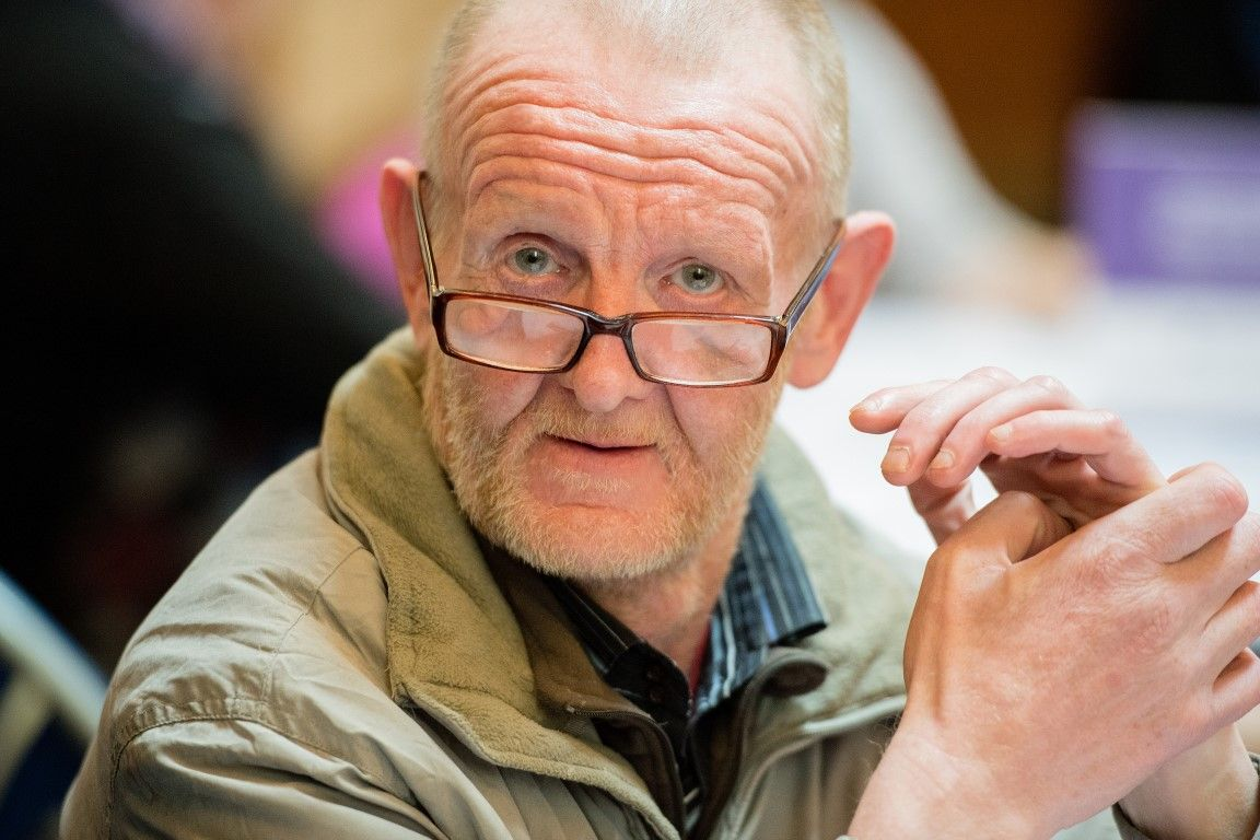 Man with learning disabilities wearing glasses