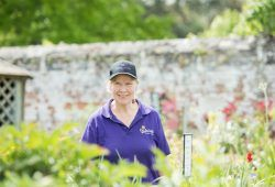 Woman in purple T-shirt working at garden centre