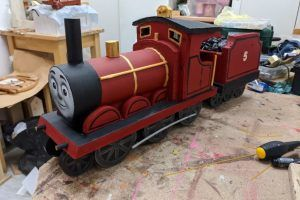 A toy train made in a workshop