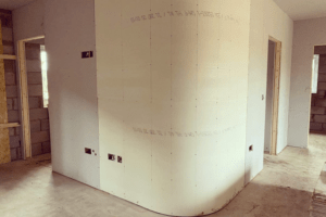 Inside wall of a building under construction
