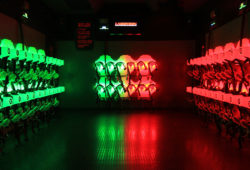 Rows of equipment used in laser tag games