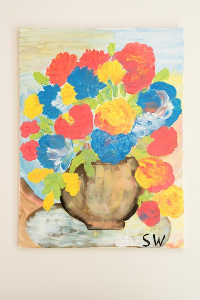 A vase of flowers painted by Sonia, who has learning disabilities