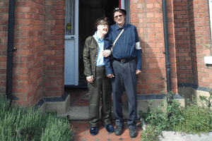 Two men dressed in World War Two uniforms